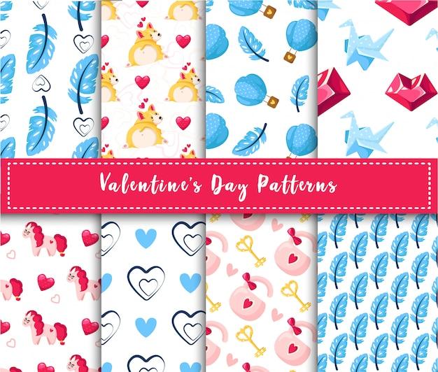 Valentine day nahtlose mustersatz Premium Vektoren