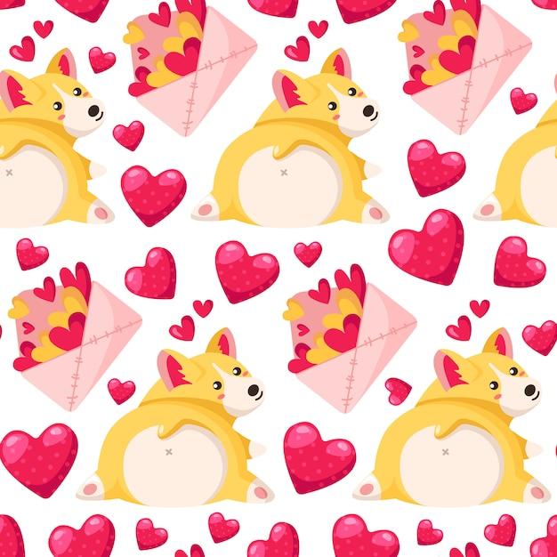 Valentine day-nahtloses muster - karikaturumschlag mit herzen, corgiwelpe Premium Vektoren
