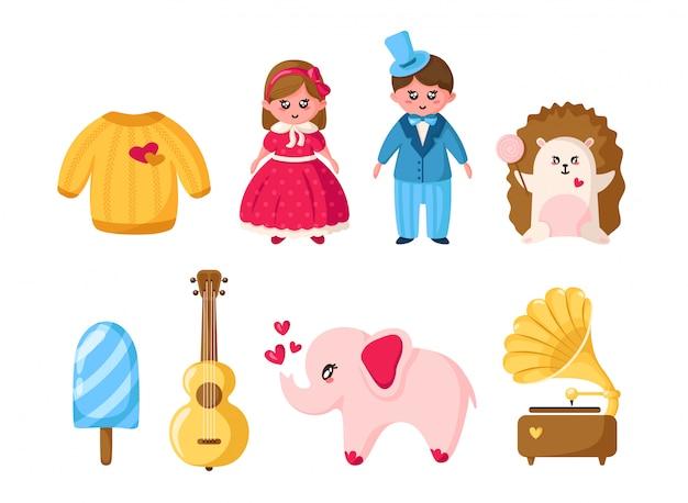 Valentine day-satz, karikatur kawaii mädchen und junge, kristallherz, umschlag, eiffelturm Premium Vektoren