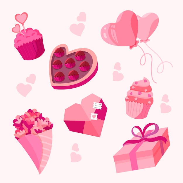 Valentine elemente im flachen design Premium Vektoren