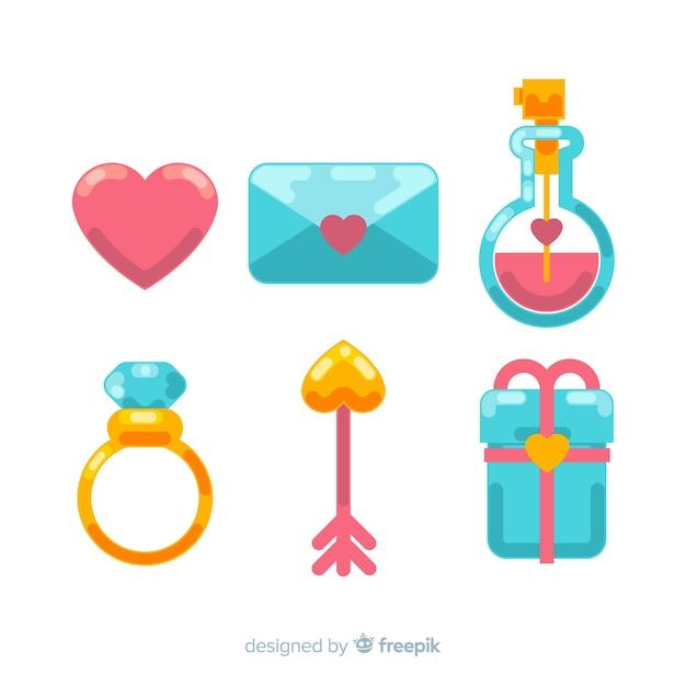 Valentine elemente packen Kostenlosen Vektoren