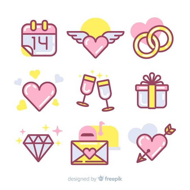 Valentine elementsammlung Kostenlosen Vektoren