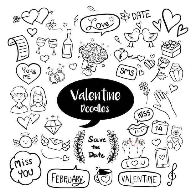 Valentine hand gezeichnete kritzeleien Premium Vektoren