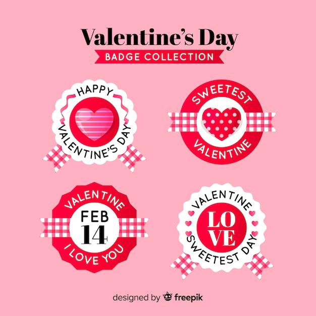 Valentine kreis abzeichen sammlung Kostenlosen Vektoren