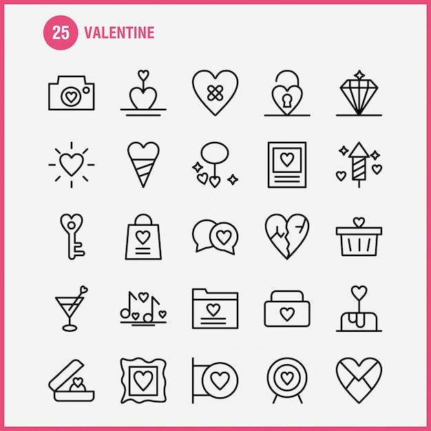 Valentine line icon pack Premium Vektoren