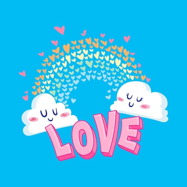 Valentine love cloud abbildung Premium Vektoren