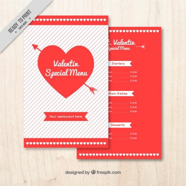 Valentine Menü Vorlage Mit Herz Download Der Kostenlosen Vektor