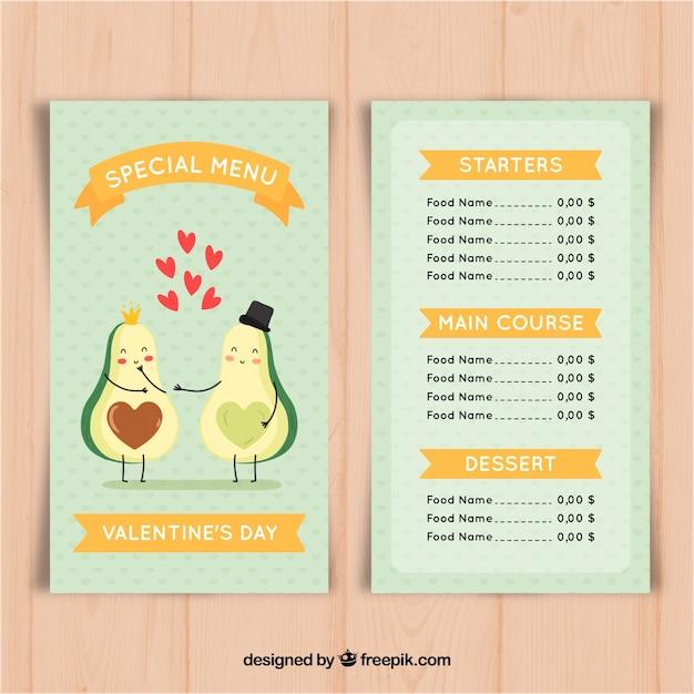 Valentine menüvorlage mit avocado Kostenlosen Vektoren