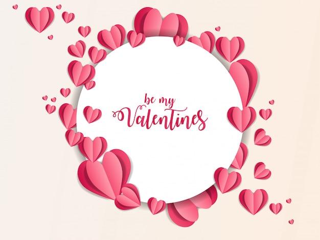 Valentine ornament papier kunst abbildung Premium Vektoren