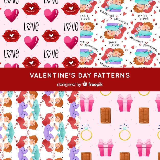 Valentine paar muster kollektion Kostenlosen Vektoren