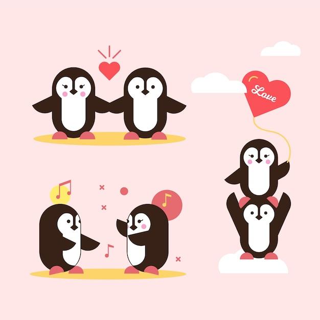 Valentine pinguin paar verlieben Premium Vektoren
