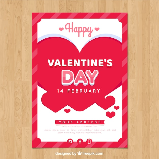 Valentine Poster Vorlage Mit Modernen Herzen Download Der