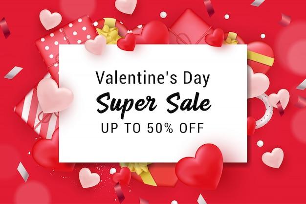 Valentine sale banner hintergrund Premium Vektoren