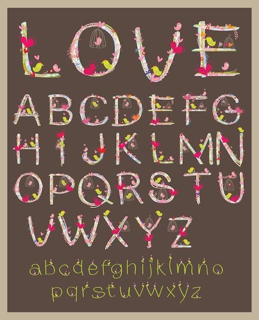 Valentine schriftart design brief vektor. Premium Vektoren
