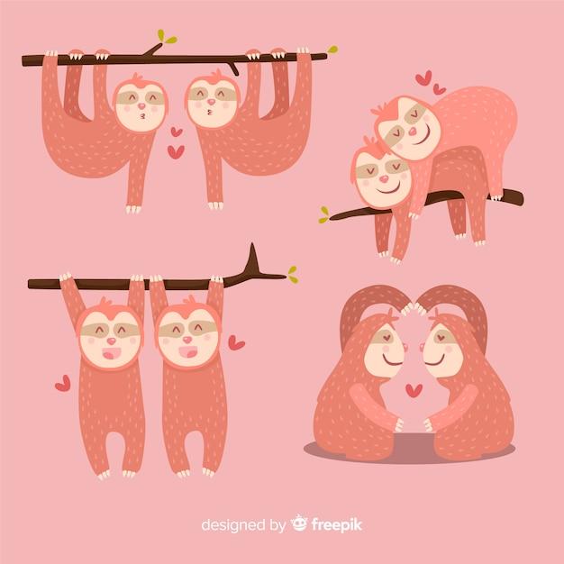 Valentine sloth paar sammlung Kostenlosen Vektoren