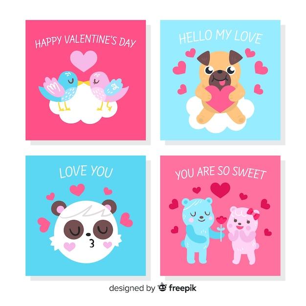 Valentine tierkarten-sammlung Kostenlosen Vektoren