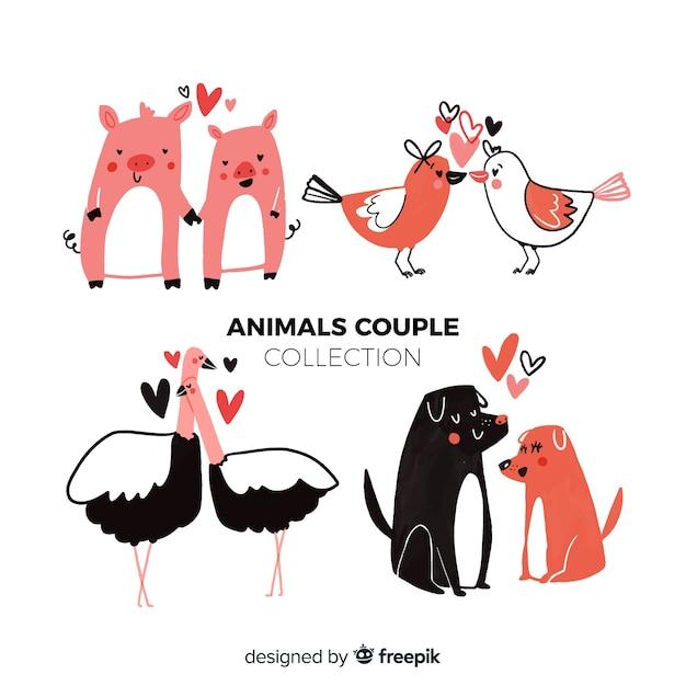 Valentine tierpaarsammlung Kostenlosen Vektoren