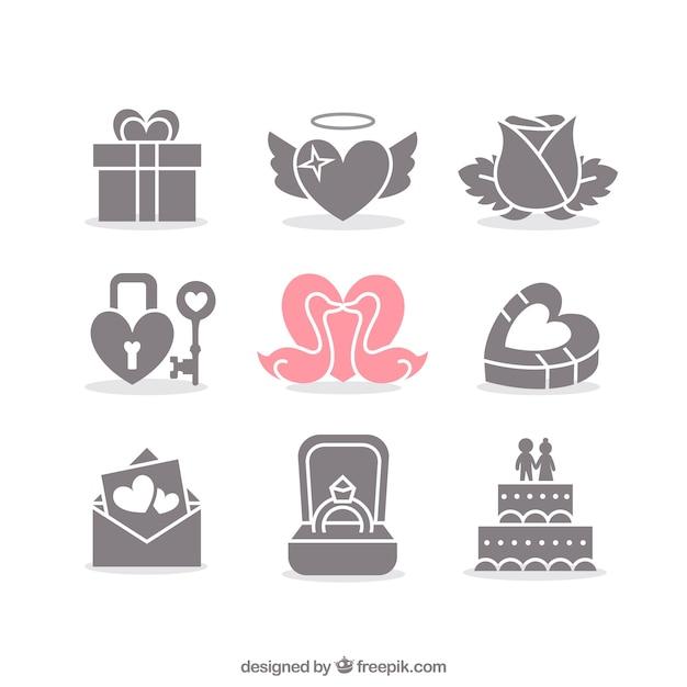 Valentine Und Hochzeit Symbole Download Der Kostenlosen Vektor