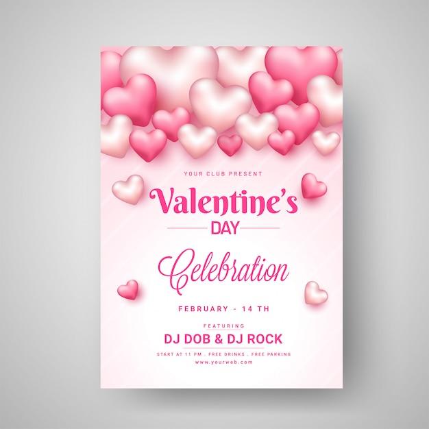 Valentines day celebration template-design mit glanz verziert Premium Vektoren