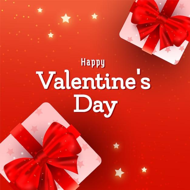 Valentinsgrußgrußkarte mit rosa ballonelementen des herzens 3d in der luft auf rot Premium Vektoren