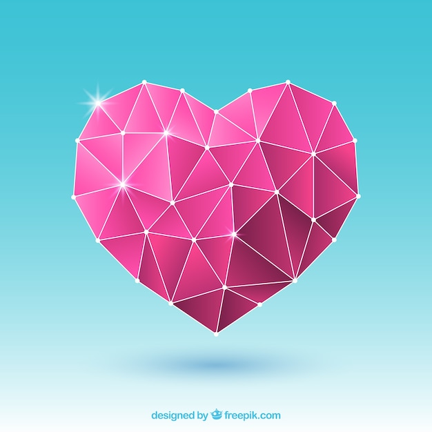 Valentinsgrußhintergrund mit rosa polygonalem herzen Kostenlosen Vektoren