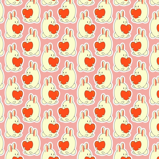 Valentinsgrußmuster mit reizendem häschen Premium Vektoren