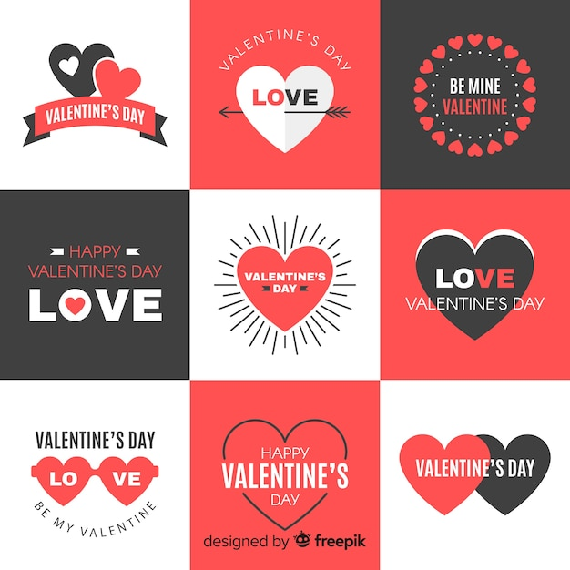 Valentinstag-abzeichen-sammlung Kostenlosen Vektoren