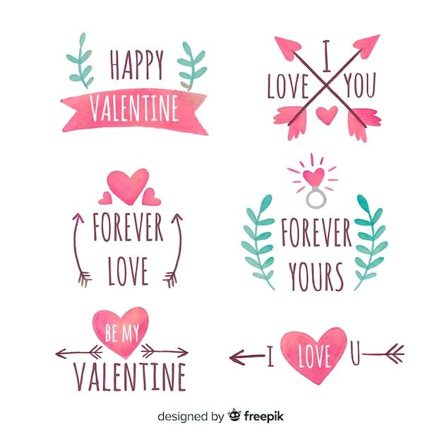 Valentinstag aquarell abzeichen sammlung Kostenlosen Vektoren