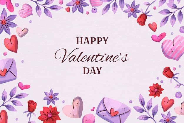 Valentinstag aquarell hintergrund mit herzen Kostenlosen Vektoren