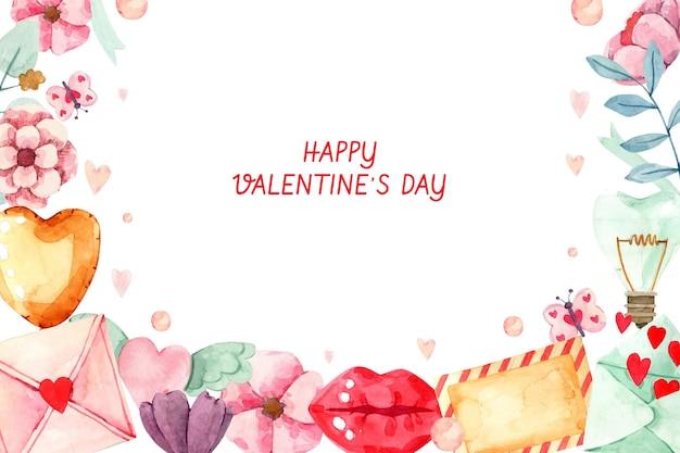 Valentinstag aquarell hintergrund Kostenlosen Vektoren