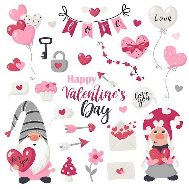 Valentinstag artikel und gnome sammlung. illustration für grußkarten, weihnachtseinladungen und t-shirts Premium Vektoren