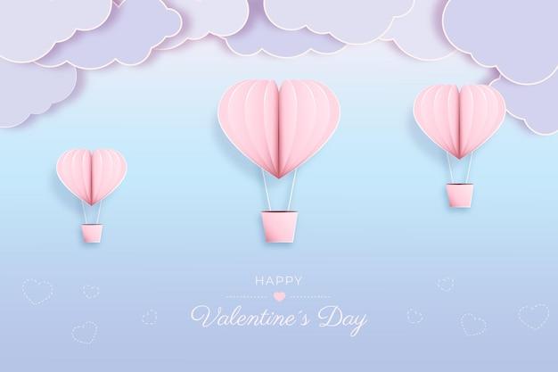 Valentinstag auf papierart Kostenlosen Vektoren
