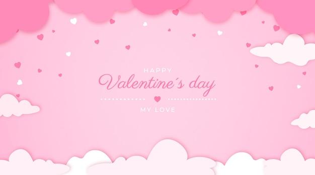 Valentinstag banner auf papier stil Kostenlosen Vektoren