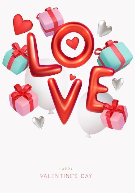 Valentinstag banner design mit stil text und geschenkboxen Premium Vektoren