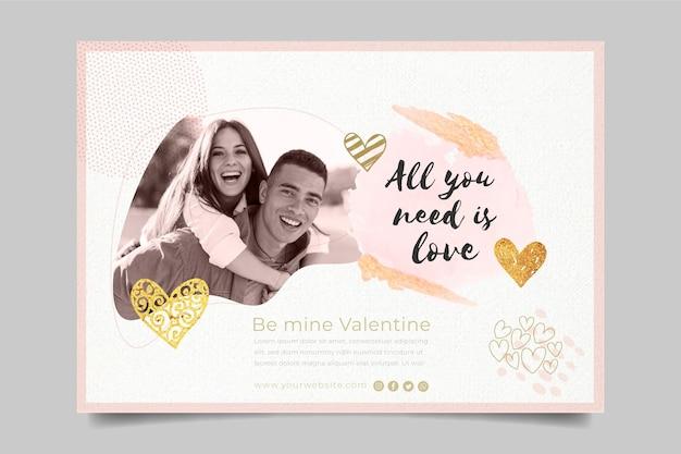 Valentinstag banner mit foto-vorlage Kostenlosen Vektoren