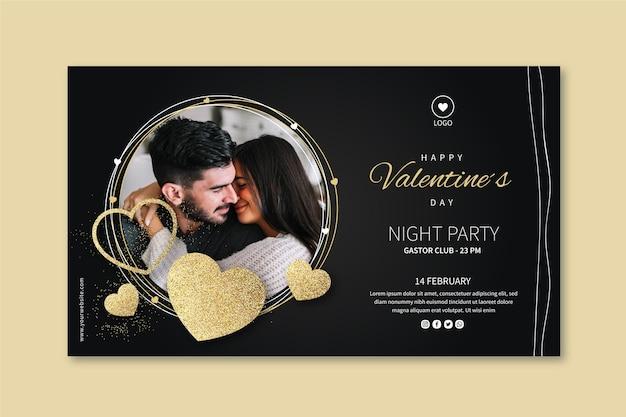 Valentinstag banner mit foto Kostenlosen Vektoren
