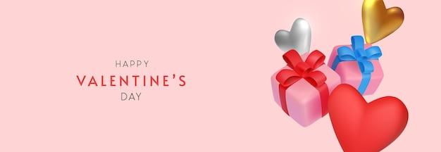 Valentinstag banner mit minimalen spielzeuggeschenken und herzen Premium Vektoren