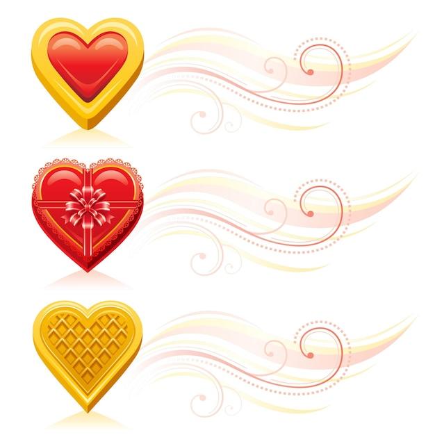 Valentinstag banner mit romantischem essen gesetzt. cartoon-herz-keks, schokoladenkasten, waffel-keks. Premium Vektoren