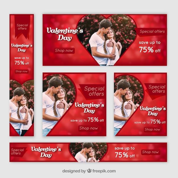 Valentinstag banner web Kostenlosen Vektoren