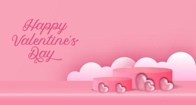 Valentinstag-bannerwerbung mit podiumsproduktanzeige 3d zylinder und herzformillustration und wolkenpapierschnittart Premium Vektoren