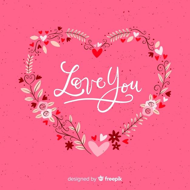 Valentinstag blumenkranzhintergrund Kostenlosen Vektoren