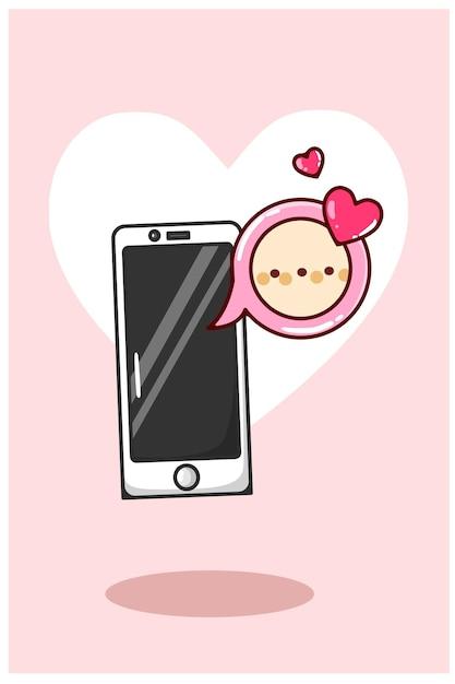 Valentinstag chat-benachrichtigungen von handys cartoon illustration Premium Vektoren
