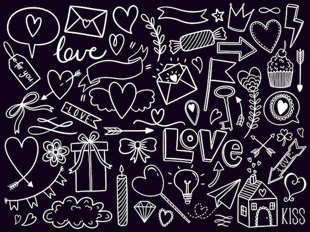 Valentinstag-doodle-set Premium Vektoren
