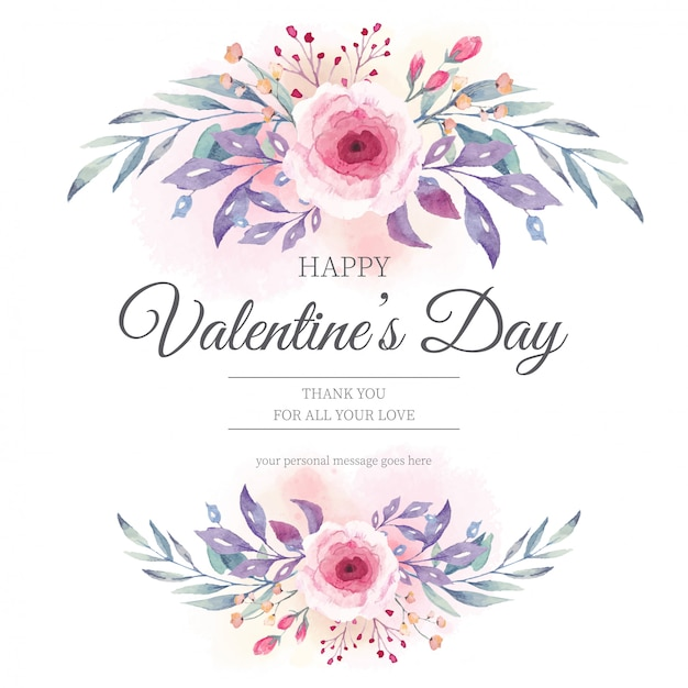 Valentinstag Einladung Mit Aquarellblumen Download Der Kostenlosen