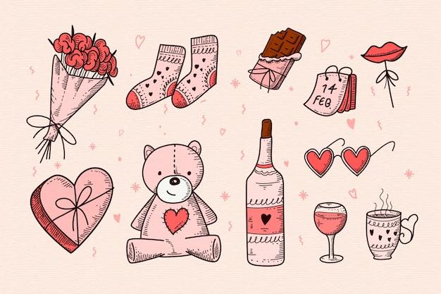 Valentinstag element sammlung Kostenlosen Vektoren
