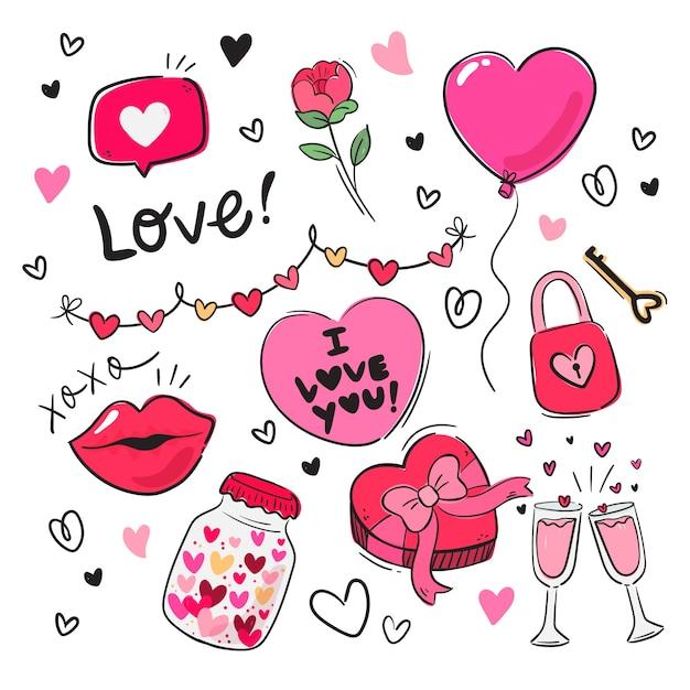 Valentinstag-elementsammlung im flachen design Kostenlosen Vektoren