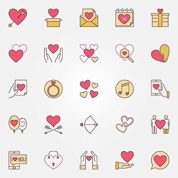 Valentinstag farbige symbole festgelegt. liebe moderne zeichen Premium Vektoren