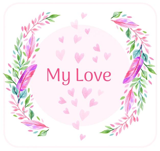 Valentinstag-feder-hintergrund Premium Vektoren