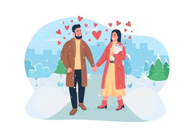 Valentinstag feier web banner, poster. gehen sie im winterpark mit schnee. Premium Vektoren