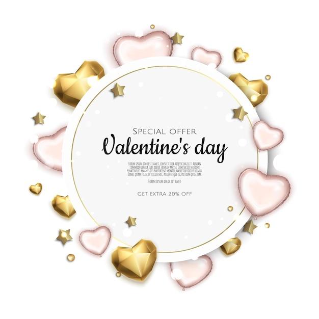 Valentinstag-feiertagsgeschenkkarte mit herzen Premium Vektoren